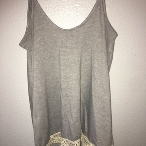 Grey tank w lace
